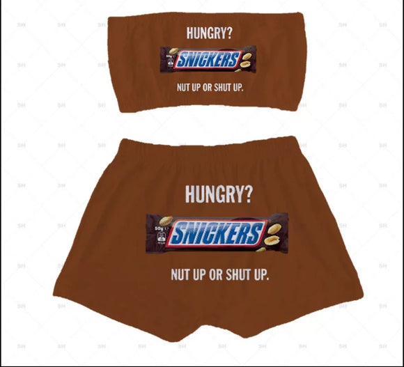 Snickers Candy Sleepwear Booty Shorts & Tube Top Set