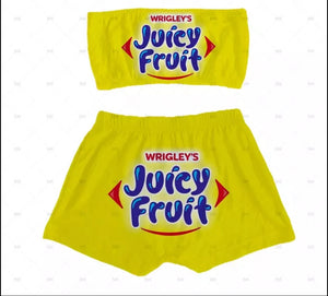 Juicy Fruit Sleepwear Snack Candy Booty Shorts & Tube Top Set - S&E Retail Expo