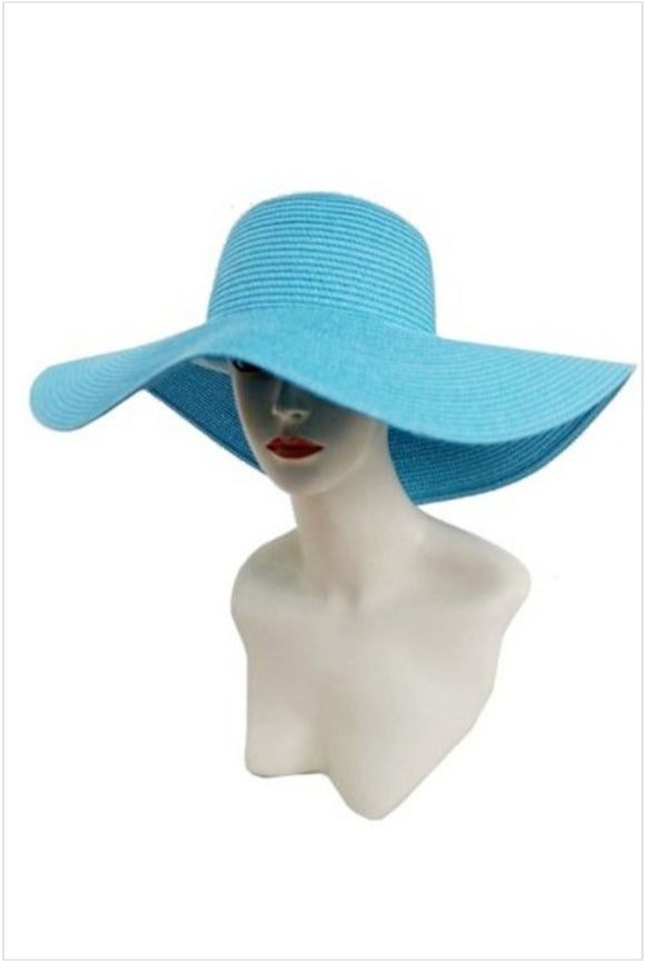 Turquoise Wide Brim Floppy Sun Hat - S&E Retail Expo