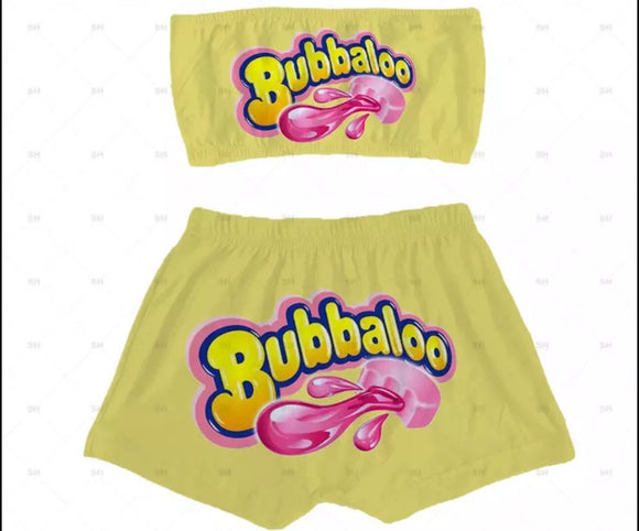 Bubbaloo Candy Sleepwear Booty Shorts & Tube Top Set