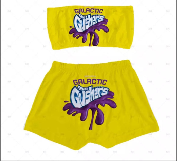 Gushers Candy Sleepwear Booty Shorts & Tube Top Set