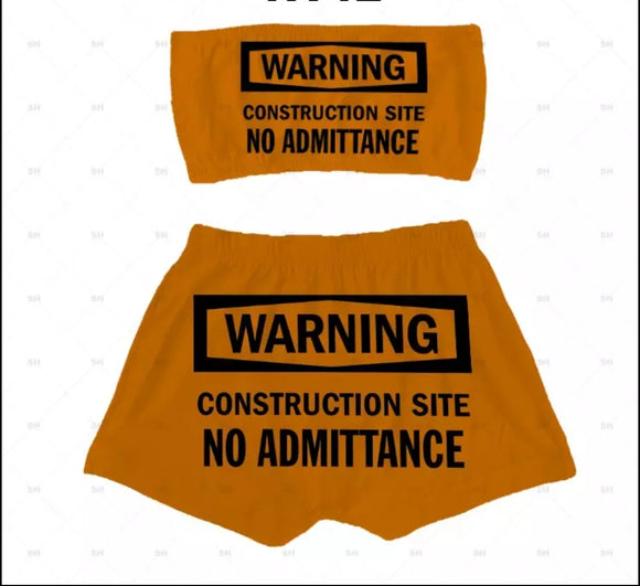 Warning Construction Site Booty Shorts Set - S&E Retail Expo