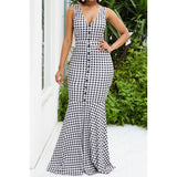 Small Polka Dotted Buttoned Front Open Back Dress - S&E Retail Expo