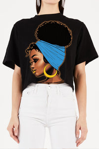Cute Ebony Chic Afro Crop Tee