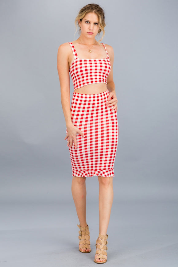 Rust Colored Gingham Cropped Top & Skirt Set