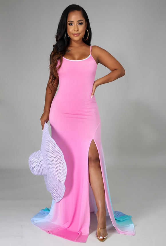 Gradient Side Slit Maxi Dress
