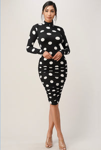 Black & White Polka Dot Ruched Dress