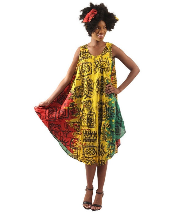 Sleeveless Umbrella Wrap Dress With Head Wrap (Design 1 of 3)