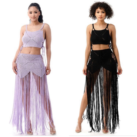 Crochet Fringe Skirt Set