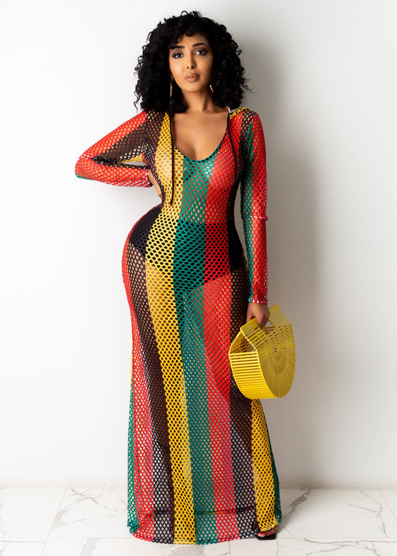 Rasta Reggae Fishnet Hooded Long Sleeve Maxi Dress