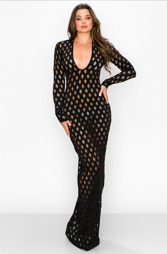 Fishnet Long Sleeve Maxi Dress