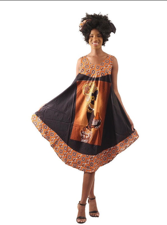 Copy of Sleeveless Umbrella Wrap Dress With Head Wrap (Design 3 of 3)