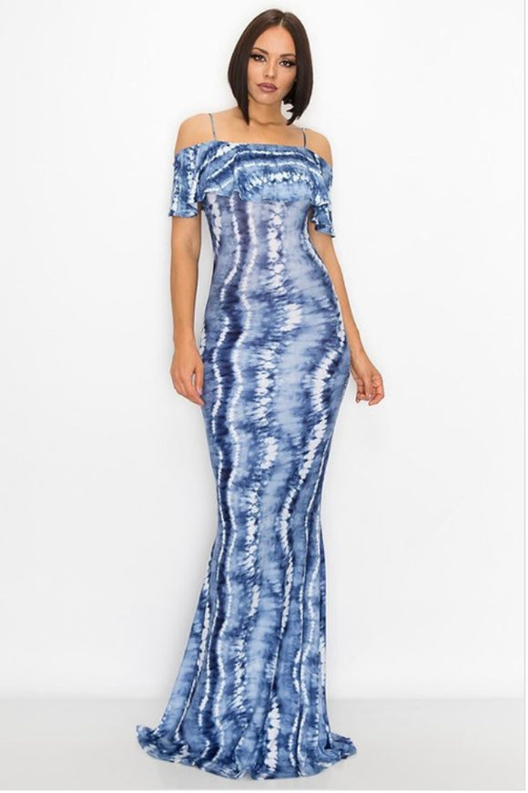 Blue &White Tie Dye Maxi Dress