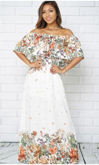 Floral Printed White Off Shoulder Maxi Dress - S&E Retail Expo