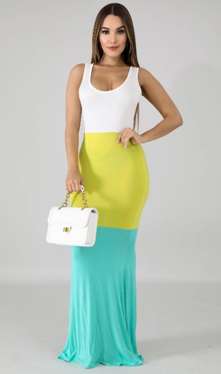 Summer Color Block Mermaid Maxi Dress
