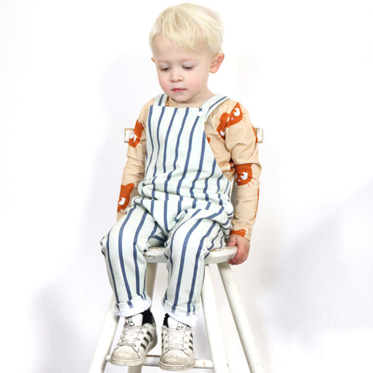 VERTICAL stripe french terry dungarees, unisex