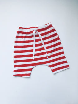 RED & WHITE stripe terry harem shorts
