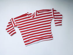 RED & WHITE stripe terry sweatshirt , unisex