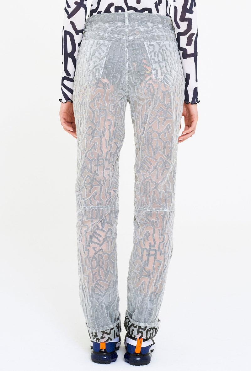 Logo Flocked Paneled Pants