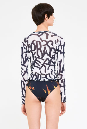 Printed Long Sleeve Mesh Top