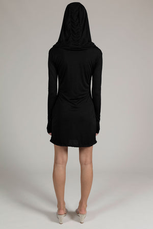 Black Hooded Draped Dress