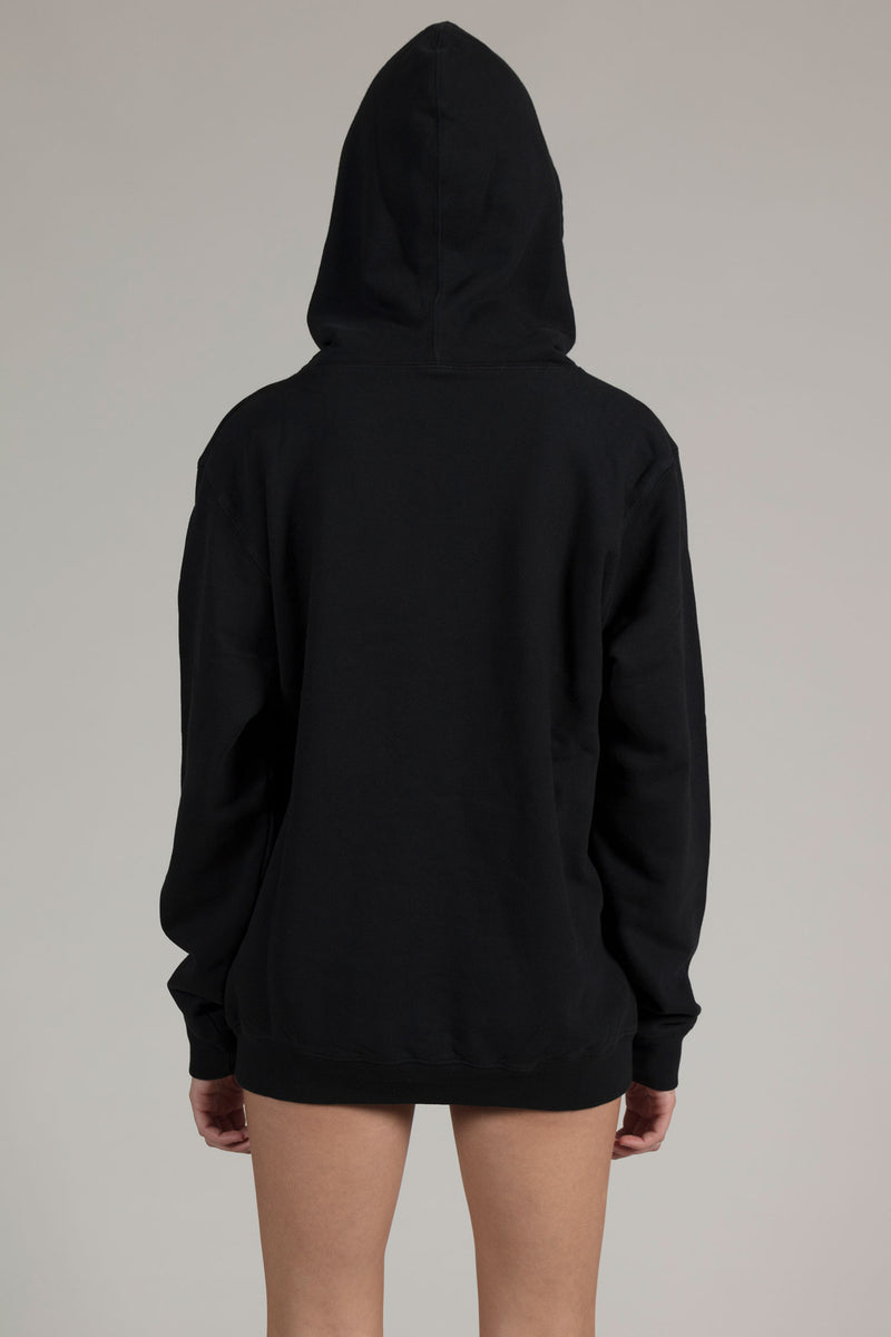 Black Puff Embroidered Hoodie