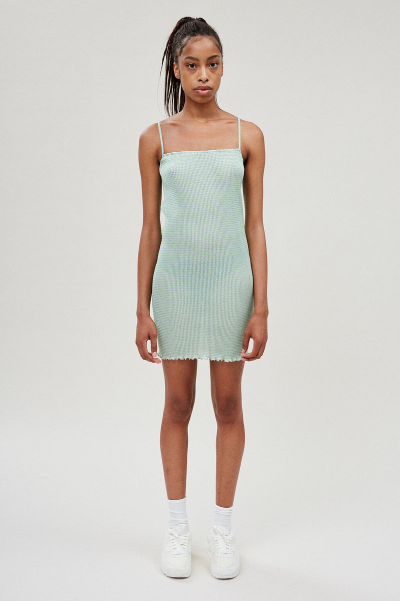 Metallic Mint Mini Cami Dress