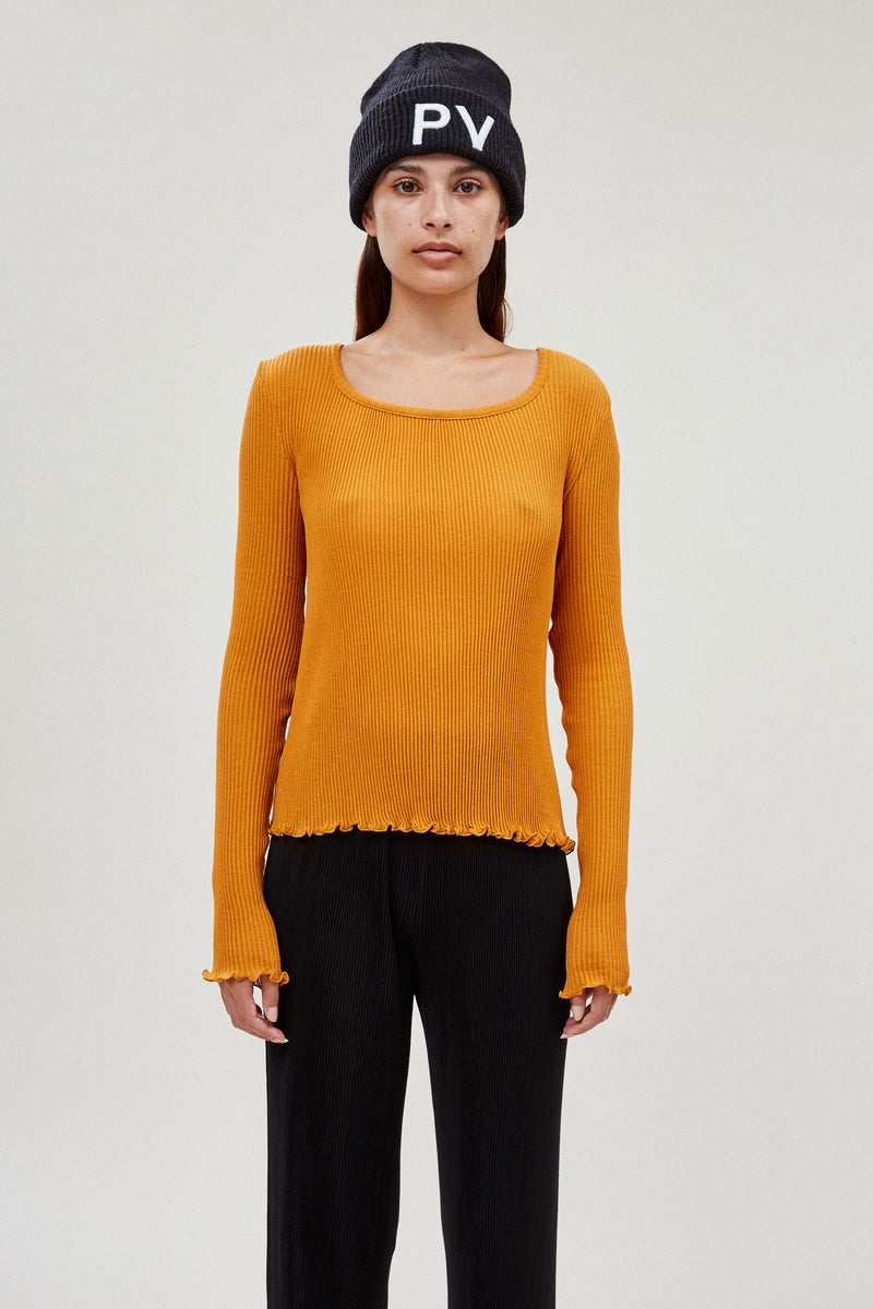 Long Sleeve Pleated Top