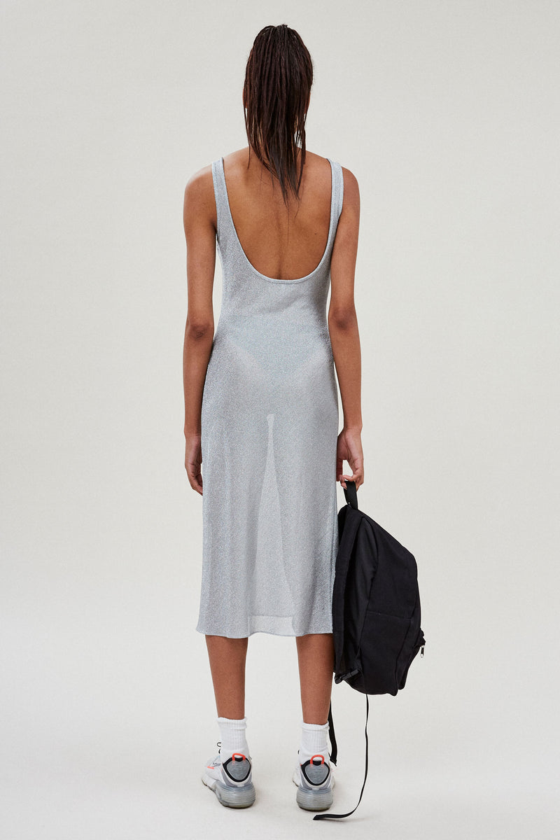 Silver Metallic Low Back Dress