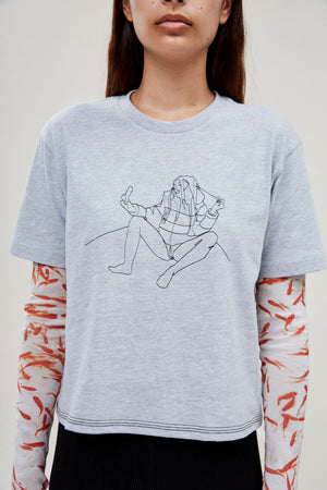 Grey Embroidered Selfie Tee