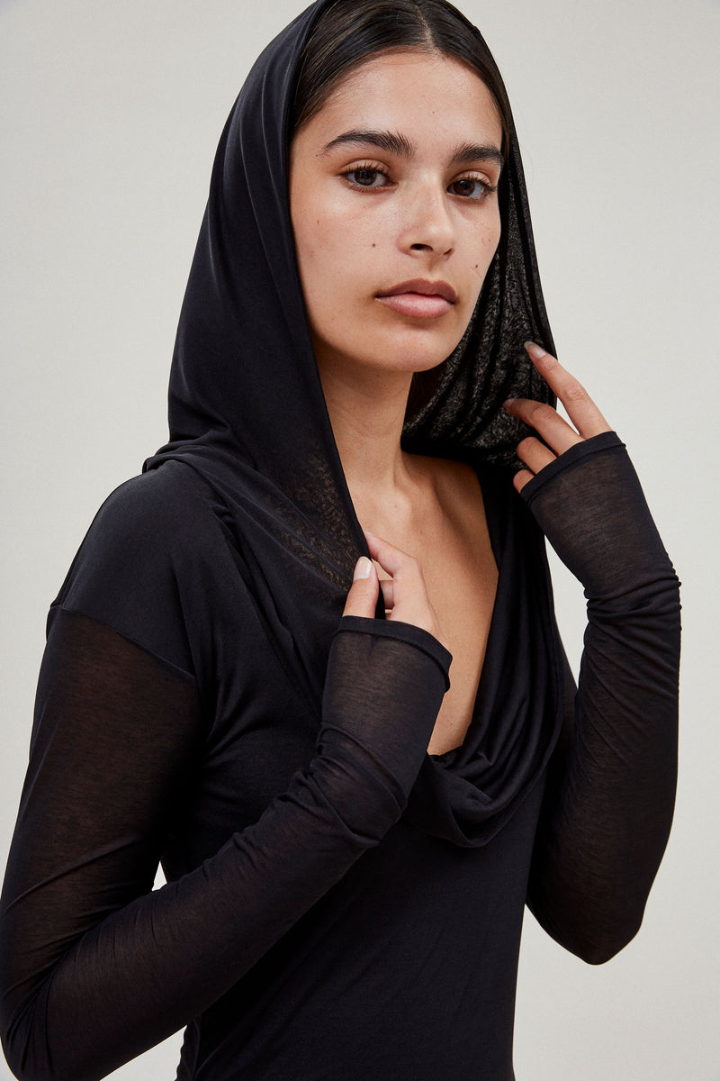 Hooded Draped Dress