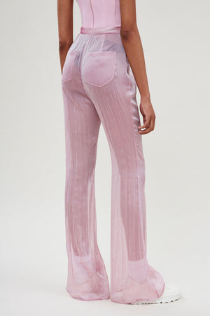 Baby Pink Fitted Flared Pants