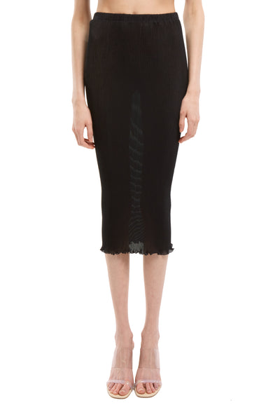 Black Seamless Pleated skirt