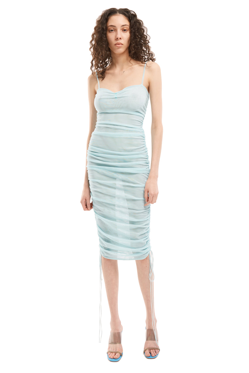 Ruched Mesh Dress