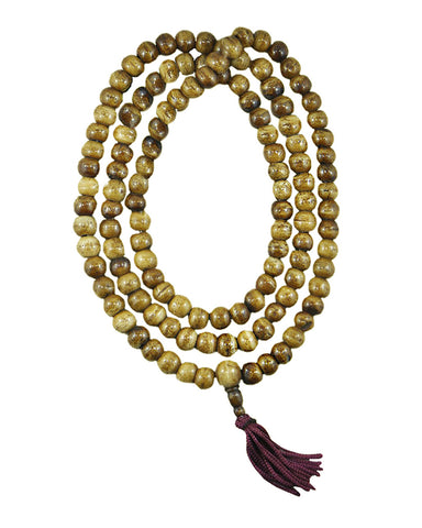 108 Beads Yak Bone Meditation Mala - Buddhist Prayer Necklace Brown