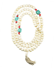 108 Beads Yak Bone Meditation Mala with Turquoise Counter Beads - White