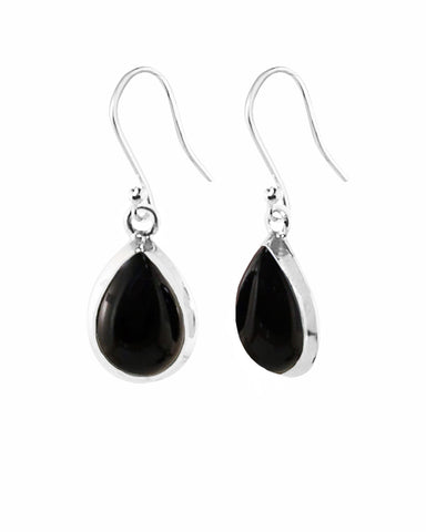 Pear Cut Natural Black Onyx Earrings in Sterling Silver