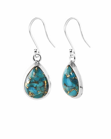 Pear Cut Natural Blue Copper Turquoise Earrings in Sterling Silver