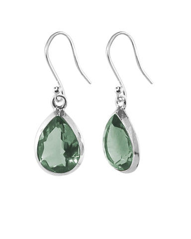 Pear Cut Natural Green Amethyst Earrings in Sterling Silver