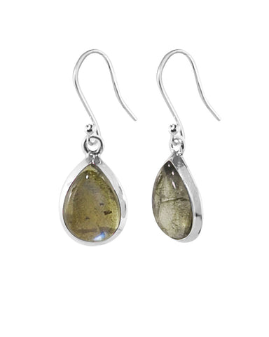 Pear Cut Natural Labradorite Earrings in Sterling Silver
