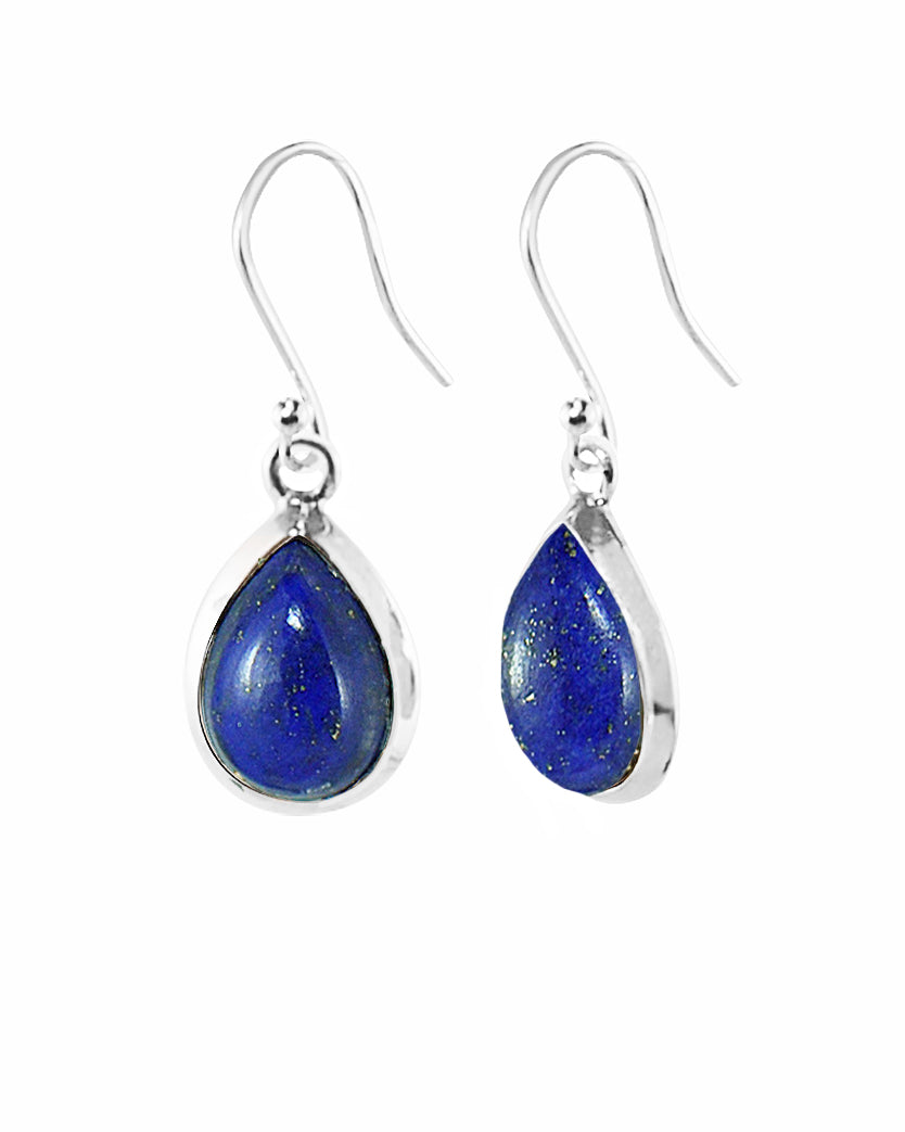 Pear Cut Natural Lapis Lazuli Earrings in Sterling Silver