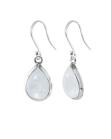 Pear Cut Natural Moonstone Earrings in Sterling Silver