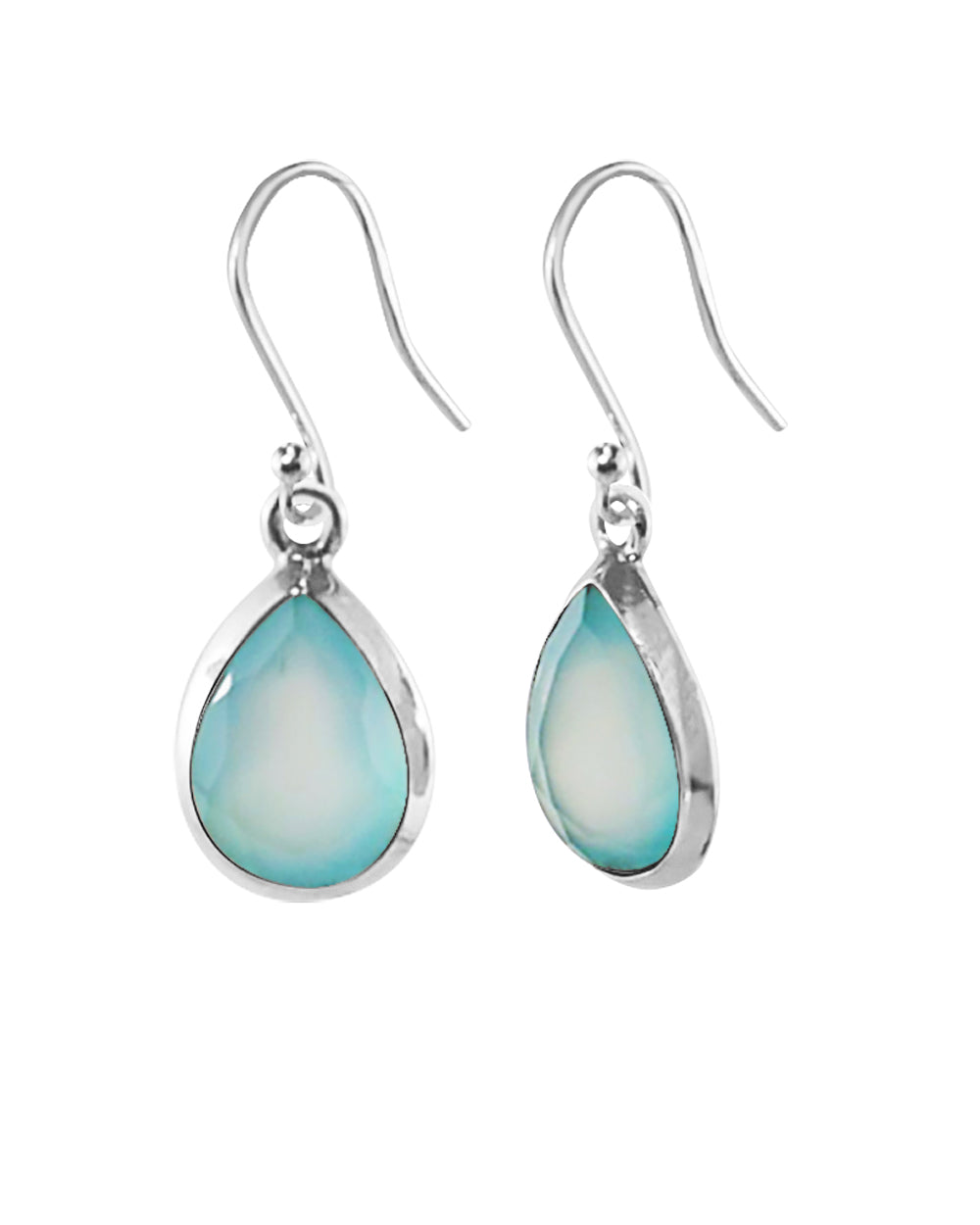 Pear Cut Natural Peruvian Opal Earrings in Sterling Silver