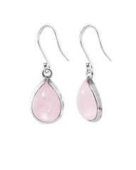 Pear Cut Natural Rose Quartz Earrings in Sterling Silver