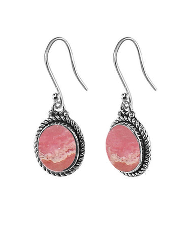 Oval Natural Pink Rhodochrosite Sterling Silver Statement Earrings