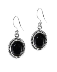 Oval Natural Black Onyx Sterling Silver Statement Earrings