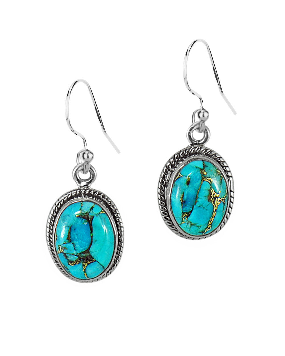 Oval Natural Blue Copper Turquoise Sterling Silver Statement Earrings