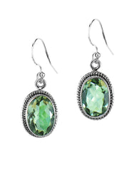 Oval Natural Green Amethyst Sterling Silver Statement Earrings