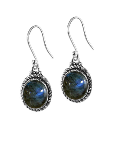 Oval Natural Labradorite Sterling Silver Statement Earrings