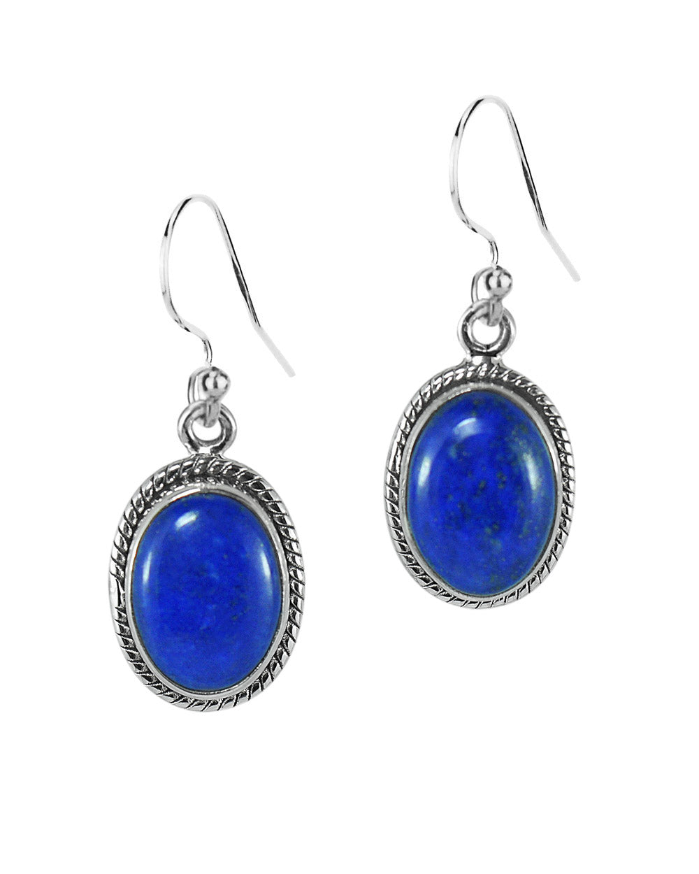 Oval Natural Lapis Lazuli Sterling Silver Statement Earrings